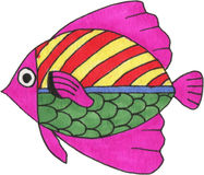 Watercolor fantasy fish. Royalty Free Stock Images