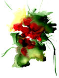 Watercolor fantasy flower. Hand drawn floral artistic illustration. For design, background and textile Stock Image