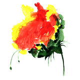 Watercolor fantasy flower in red and yellow color. Hand drawn illustration for design, textile and background. Stock Photo