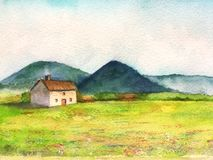 Watercolor fantasy landscape little house in the countryside vector illustration