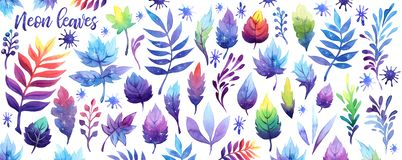 Watercolor fantasy neon sky galaxy moon leaf set. Cosmos violet purple pink blue leaves on white background. stock illustration
