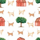 Watercolor farm  seamless pattern.Domestic animals. Hand drawn objects:cat,dog,tree,barn. Hand drawn background. Village life vector illustration