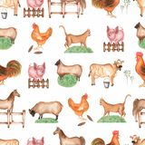 Watercolor farm  seamless pattern. Hand drawn objects:cat,pig,fence,grass,sheep,horse,rooster,cow,hen. Hand drawn background. Farm royalty free illustration