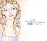 Watercolor fashion illustration Stock Photos