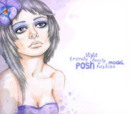 Watercolor fashion illustration Royalty Free Stock Image