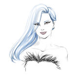 Watercolor fashion illustration with beautiful girl Stock Photos