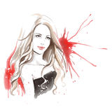 Watercolor fashion illustration with beautiful girl Royalty Free Stock Image