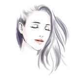 Watercolor fashion illustration with beautiful girl Stock Photography