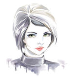 Watercolor fashion illustration with beautiful girl Stock Images