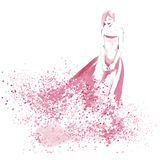 Watercolor fashion illustration with beautiful girl Royalty Free Stock Photo