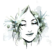 Watercolor fashion illustration with girl Royalty Free Stock Photos