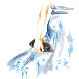 Watercolor fashion illustration: girl with clutch Stock Image