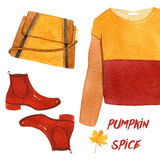 Watercolor fashion illustration.pumpkin spice set. sweatshirt, shoes and handbag. Royalty Free Stock Photography