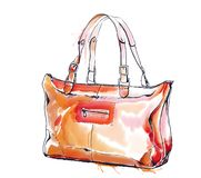 Watercolor fashion illustration with purse c0d9eff07ad4c