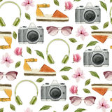 Watercolor fashion illustration. Set of trendy accessories: headphones,photo camera,sunglasses,espadrilles and magnolia flowers. S Royalty Free Stock Image