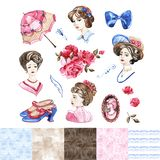 Watercolor Fashion Illustration. Set of trendy accessories. Rose Blossom. Watercolor Fashion Illustration. Set of trendy accessories. Rose Blossom stock illustration