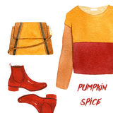 Watercolor fashion illustration. set of trendy autumn accessories and cloves. pumpkin spice, sweatshirt, shoes and Stock Photography