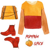 Watercolor fashion illustration. set of trendy autumn accessories. pumpkin spice, sweatshirt, shoes and handbag. Royalty Free Stock Photography