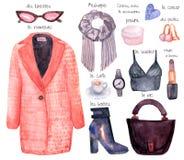 Watercolor fashion illustration, style girl stock illustration