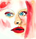Watercolor fashion portrait of woman with makeup. Minimalism moderm style of drawing. Hand drawn female person with red lips and blue eyes vector illustration