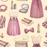 Watercolor fashion seamless pattern Stock Photo