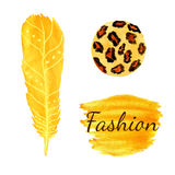 Watercolor fashion set in yellow color. Leopard circle texture, feather. Ethnic vector. royalty free illustration