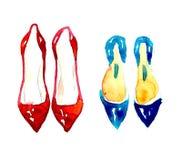 Watercolor fashion shoes Stock Photo