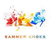 Watercolor fashion shoes Stock Photos