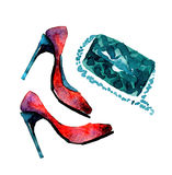 Watercolor fashion shoes Royalty Free Stock Photo
