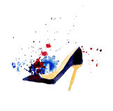 Watercolor fashion shoes Royalty Free Stock Photos