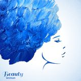 Watercolor Fashion Woman with Long Hair. Vector Stock Photography