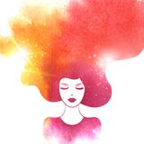 Watercolor Fashion Woman with Long Hair. Vector. Illustration. Stylish Design for Beauty Salon Flyer or Banner. Girl Silhouette. Cosmetics. Beauty. Health and Royalty Free Stock Photography