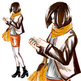 Watercolor fashion  woman with mobile phone Royalty Free Stock Image
