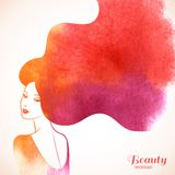 Watercolor Fashion Woman With Long Hair Stock Photo