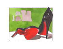 Watercolor fasion illustration with  louboutin Stock Image