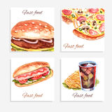 Watercolor Fastfood Cards Royalty Free Stock Images