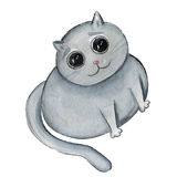 Watercolor fat cat with devoted look illustration Royalty Free Stock Photography