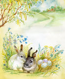 Watercolor Fauna Collection: Rabbit. Two beautiful rabbit on the grass near the egg Royalty Free Stock Photo