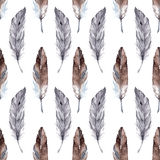 Watercolor feather ethnic boho seamless pattern background Stock Photos