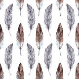 Watercolor feather ethnic boho seamless pattern background vector Stock Image