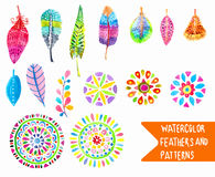 Watercolor feather and pattern collection Stock Photography