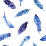 Watercolor feather seamless pattern. In blue and violet colors. It can be background, pattern for textile e.g. for pajamas or bed linens, etc stock illustration