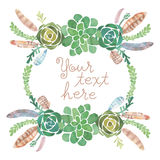 Watercolor feather and succulent frame Royalty Free Stock Photo