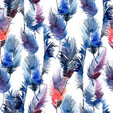Watercolor feathers and beads Royalty Free Stock Photo