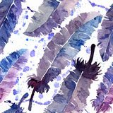 Watercolor feathers and blot seamless pattern. Royalty Free Stock Photos