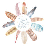 Watercolor feathers frame. Hand painted on white background Royalty Free Stock Photo
