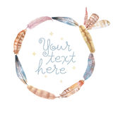 Watercolor feathers frame. Hand painted on white background Royalty Free Stock Photos