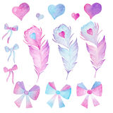 Watercolor feathers, hearts and bows on white background Royalty Free Stock Image