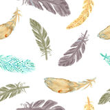 Watercolor feathers seamless pattern. Hand painted texture. Stock Photos