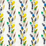 Watercolor feathers seamless pattern. Hand painted texture royalty free stock images